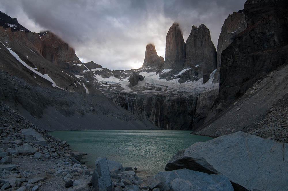 Torres del Paine - západ slunce nám vyšel lépe než východ, na který všichni fotografové směřují