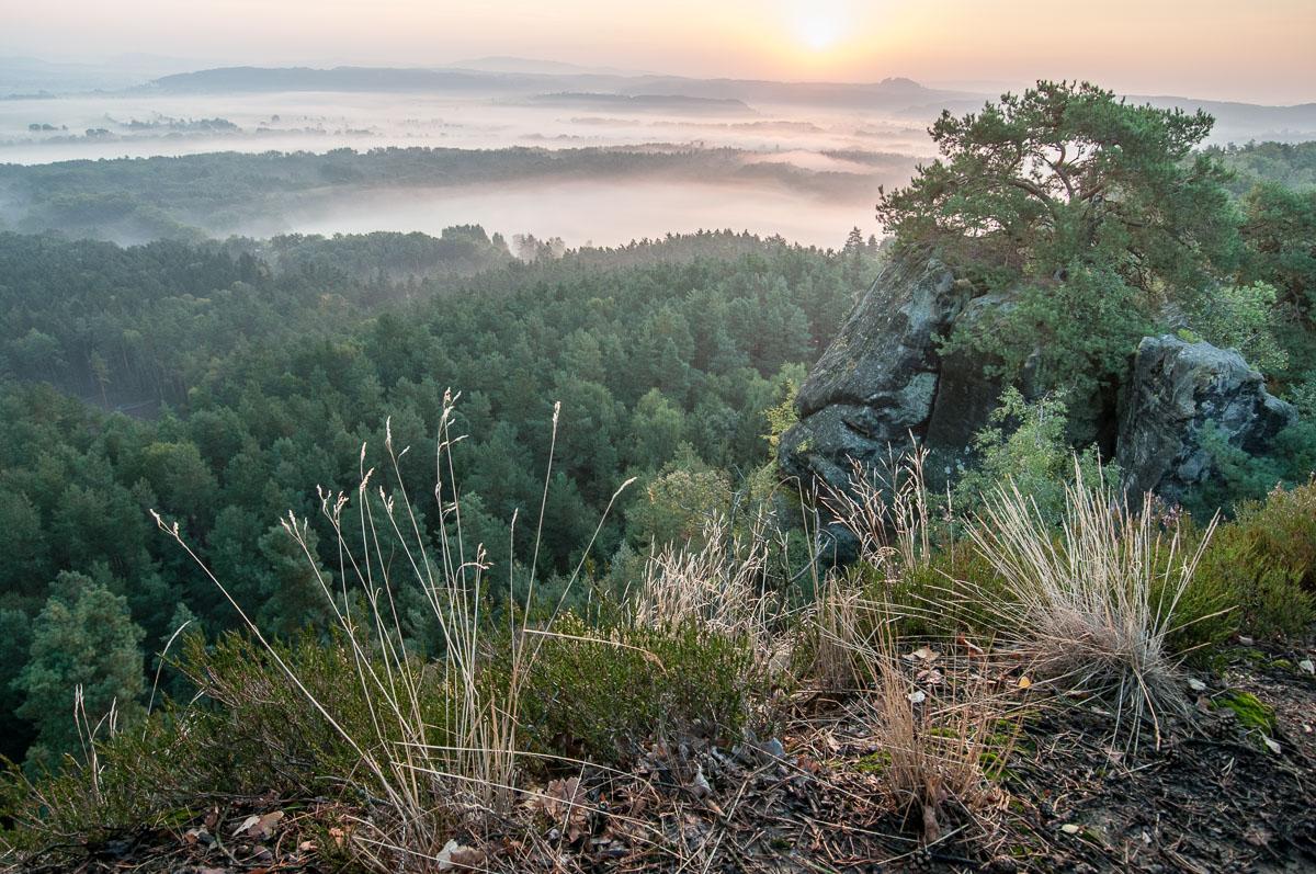 Pohled z Příhrazských skal směrem ke Kozákovu a Vyskeři.
