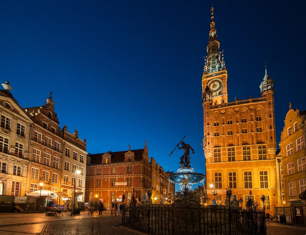 Neptunova fontána a radnice v Gdaňsku