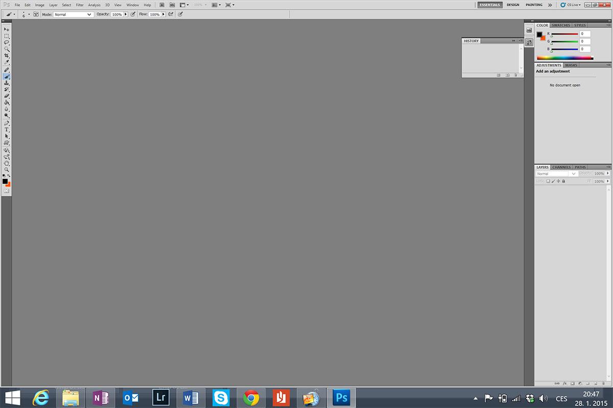 Menu ve Photoshopu - kvůli velmi vysokému rozlišení při malé fyzické úhlopříčce jsou kontextové menu a ikonky extrémně malé. Některé propgramy (třeba i Lightroom) lze částečně škálovat, jiné bohužel nikoli.