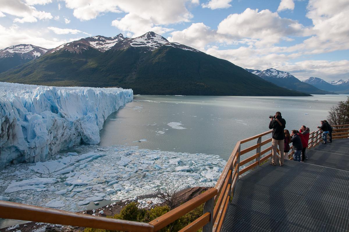 Vyhlídka na ledovec Perito Moreno (Argentina), kde jsem pořídil fotografii ptáčka