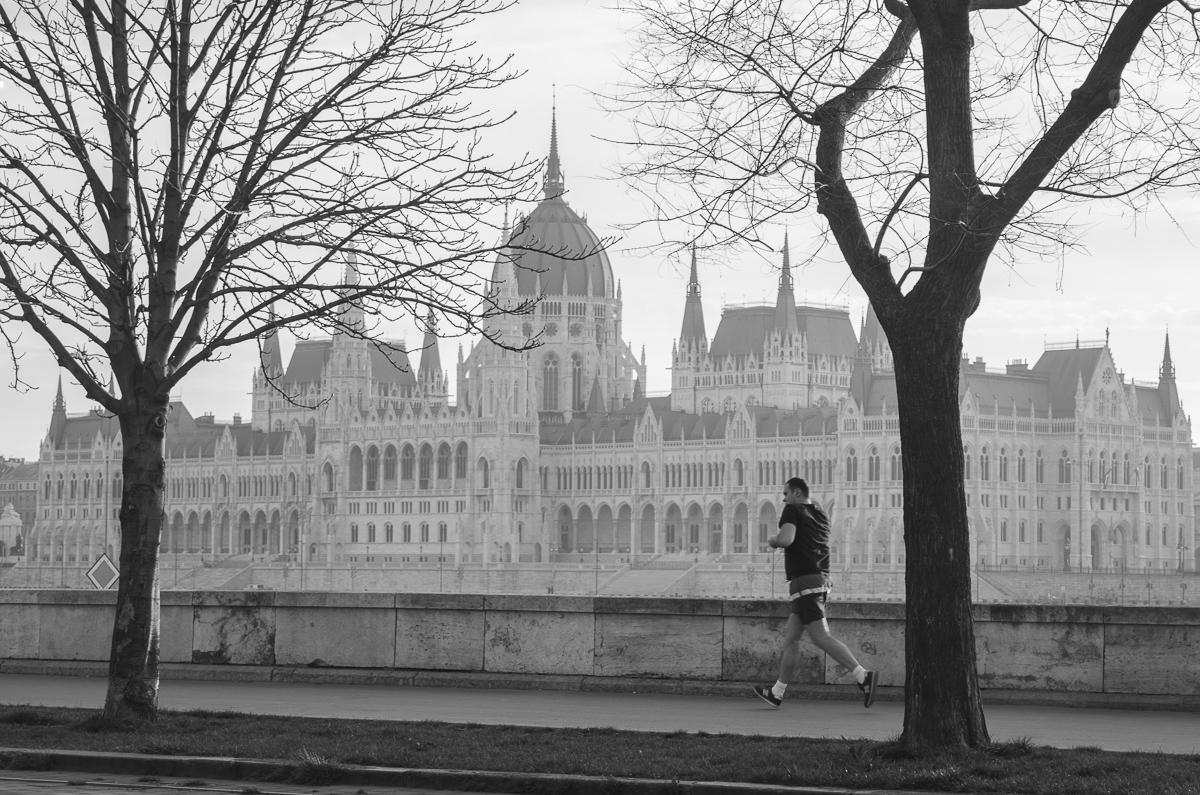 Budapešťské ráno - běžec s parlamentem v pozadí