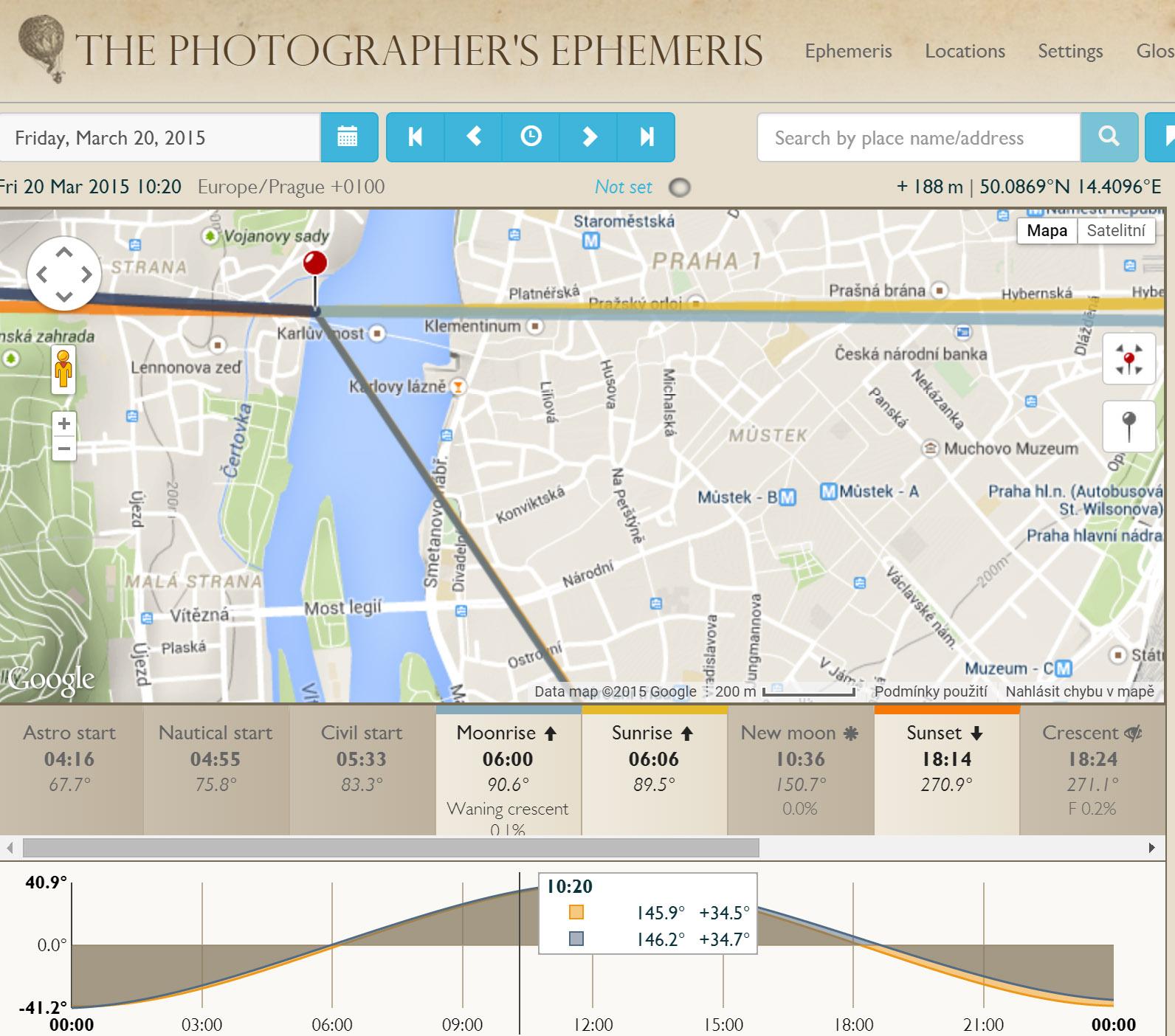 Náhled online aplikace Photographer Ephemeris