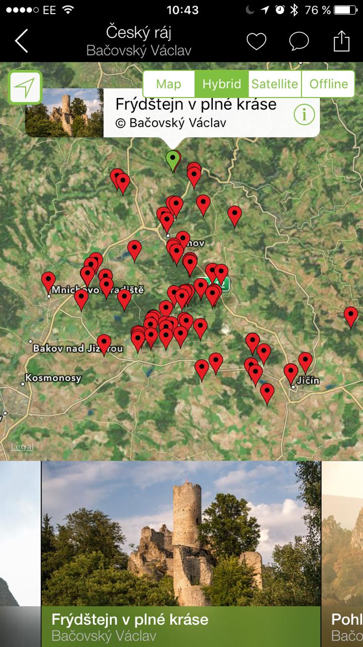 Štítky na mapě zbrazují místa, kde byly vyfovceny fotografie v průvodci - snažil jsem se o kompletní pokrytí celého úuzemí Českého ráje.