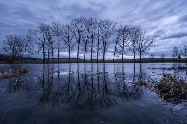 Český ráj, Vesecký rybník, studená fronta, dramatická mračna