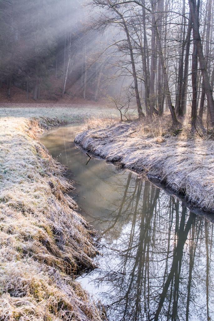 Český ráj, ranní, mlha, námraza, řeka, Žehrovka