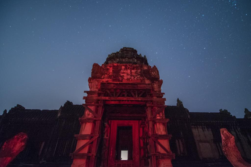 Angkor Vat, Angkor Thom, Kambodža, chrám, noční, nightsky, hvězdy, noc