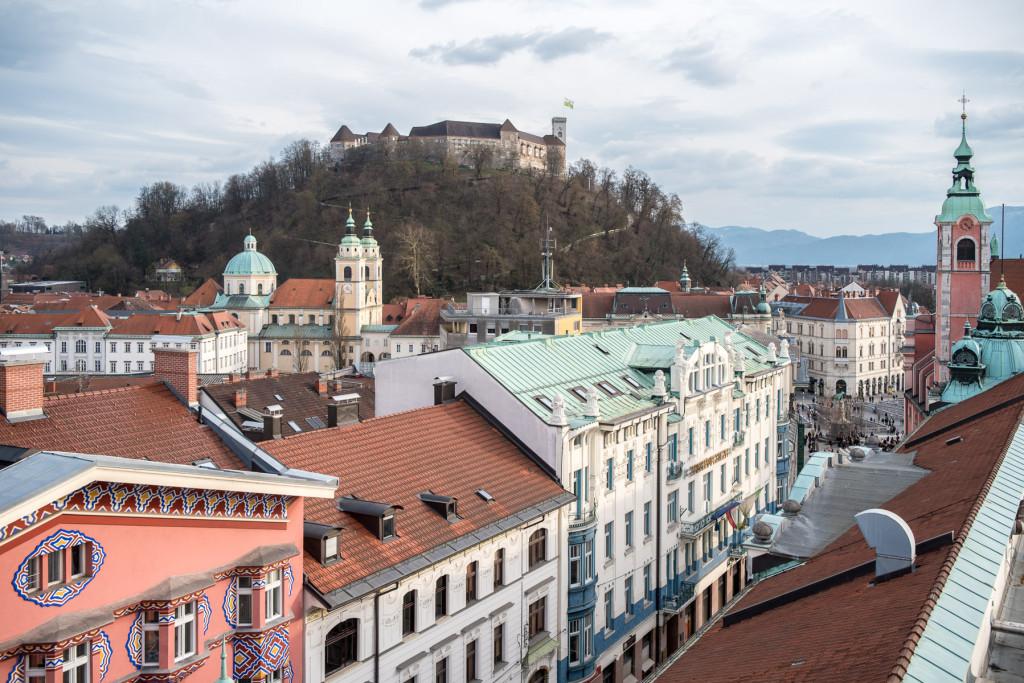 Lublaň, Ljubljana, Oldtown, město, centrum, Plečnik, Panorama