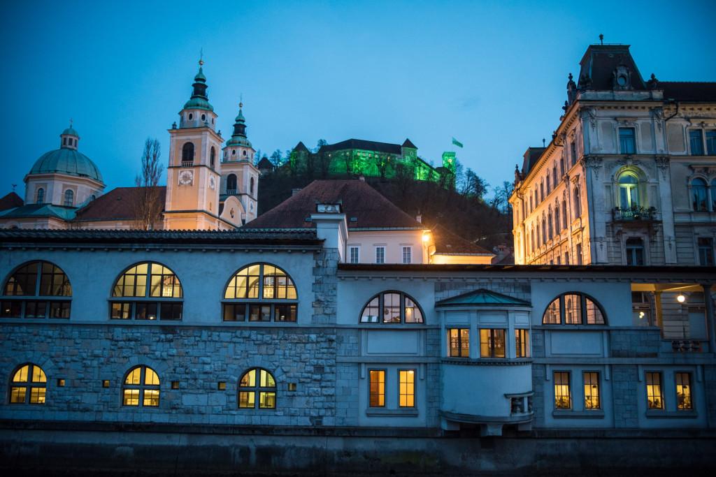 Lublaň, Ljubljana, Oldtown, město, centrum, hrad, tržnice, Plečnik, katedrála sv.Mikuláše