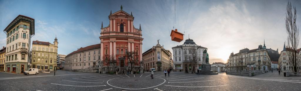 Panorama, Lublaň, Ljubljana, Oldtown, město, centrum, Plečnik, Prešerenovo náměstí, Plečnik