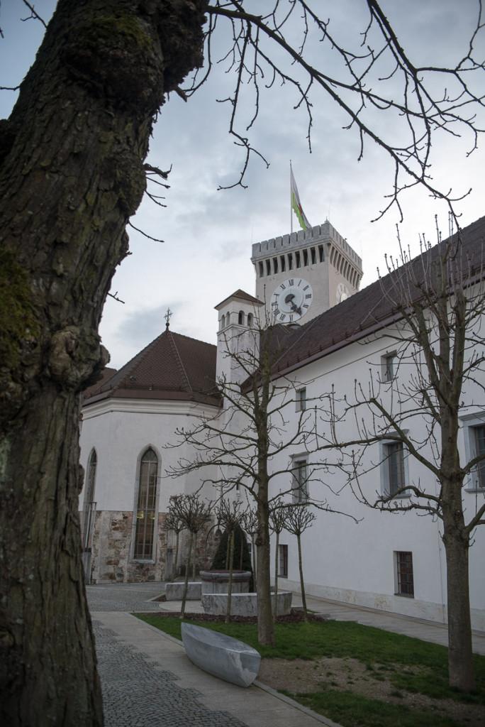 Lublaň, Ljubljana, Oldtown, město, Hrad, věž