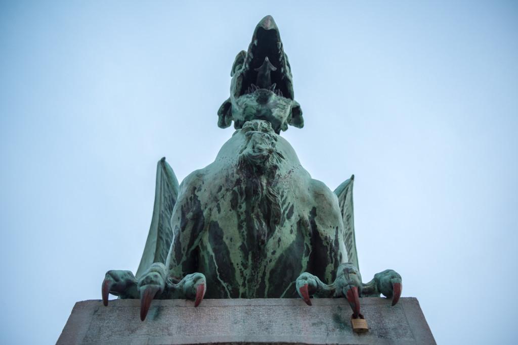 Lublaň, Ljubljana, Oldtown, město, centrum, most, dračí most, dráp, drak