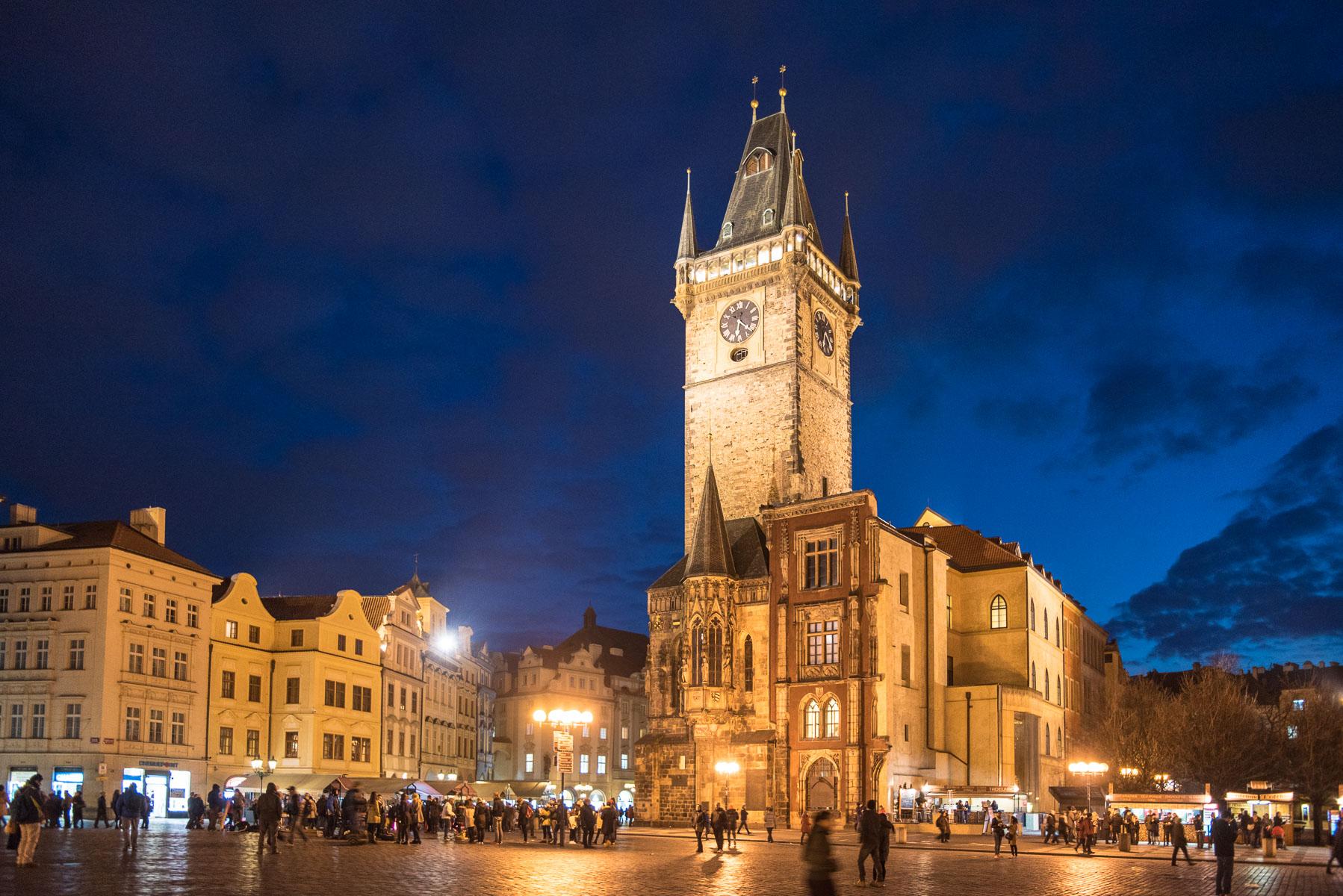 Praha, noční, centrum, Staroměstské náměstí