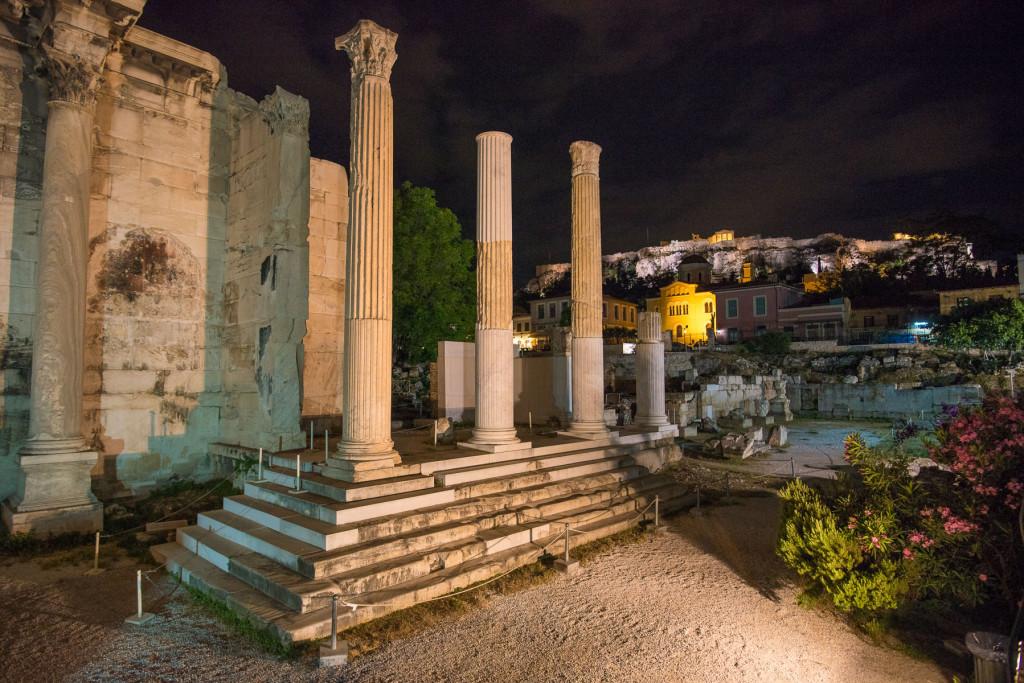 Atény, Akropole, Řecko, antika, architekrura, noční