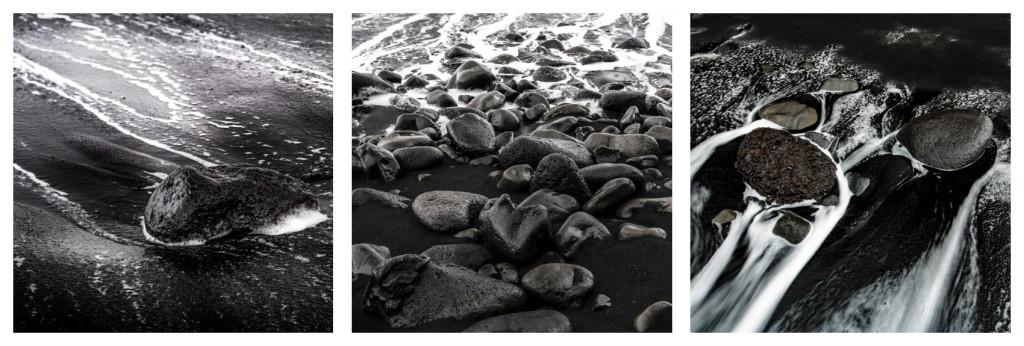 Island, triptych, pláž u Víku