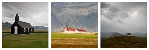 Island, triptych, kostely