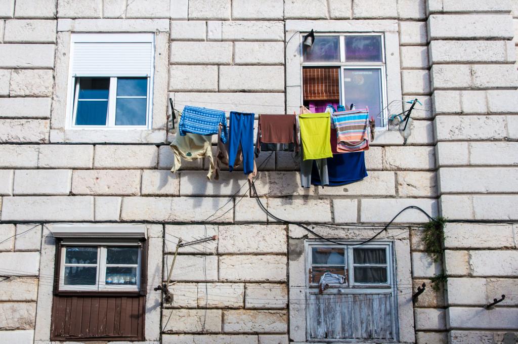 Lisabon (Portugalsko): věšení prádla