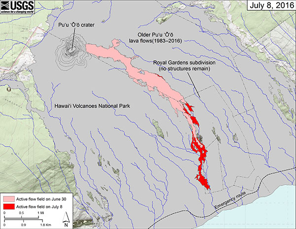 Lava Flow Map Courtesy USGS Hawaiian Volcano Observatory