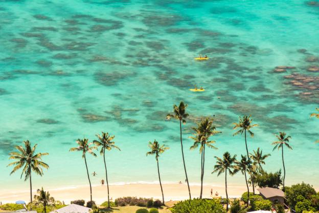 Lanikai beach, pláž, Hawaii, Oahu, Havajské ostrovy, moře, tyrkysová