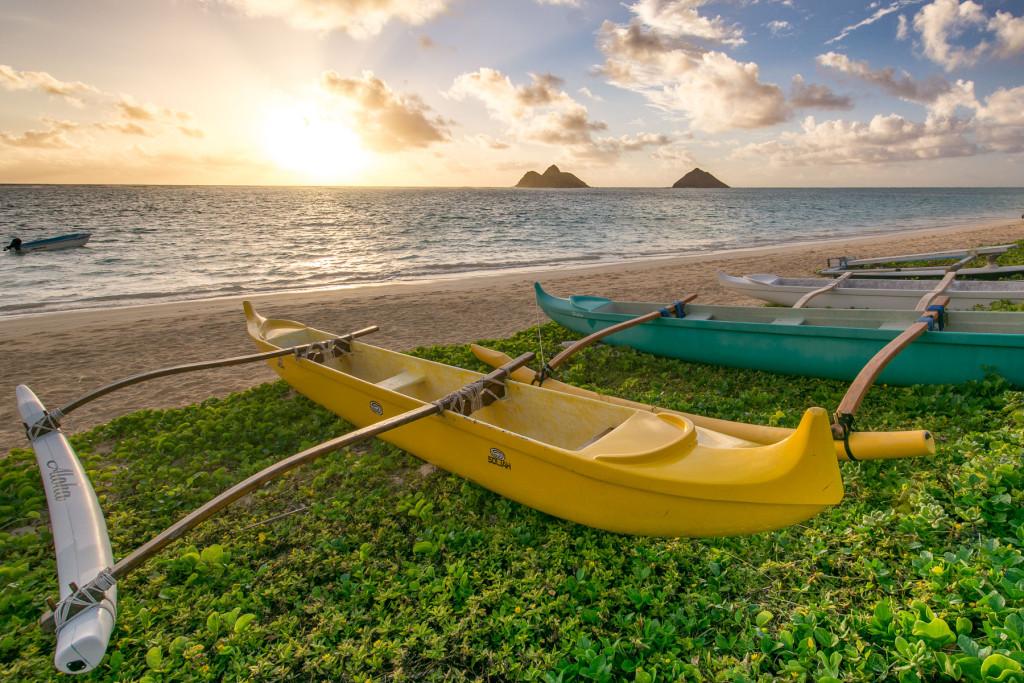Lanikai beach, pláž, Hawaii, Oahu, Havajské ostrovy, moře, východ slunce, sunrise