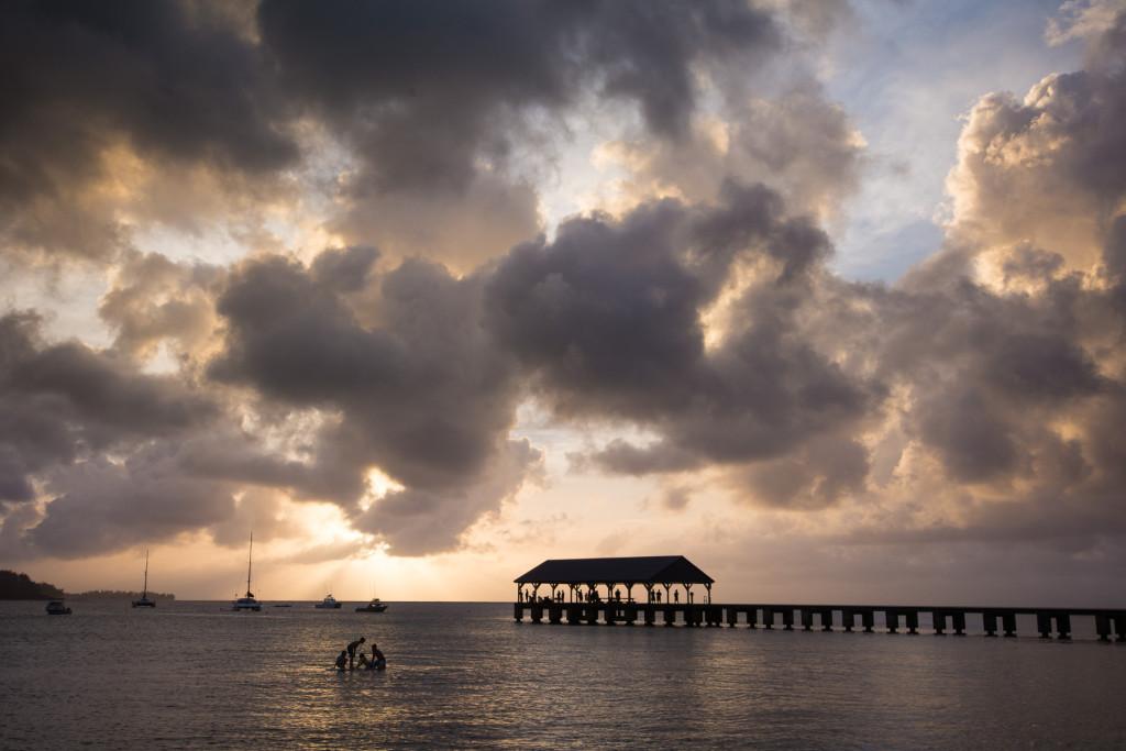 Západ slunce na Hanalei beach