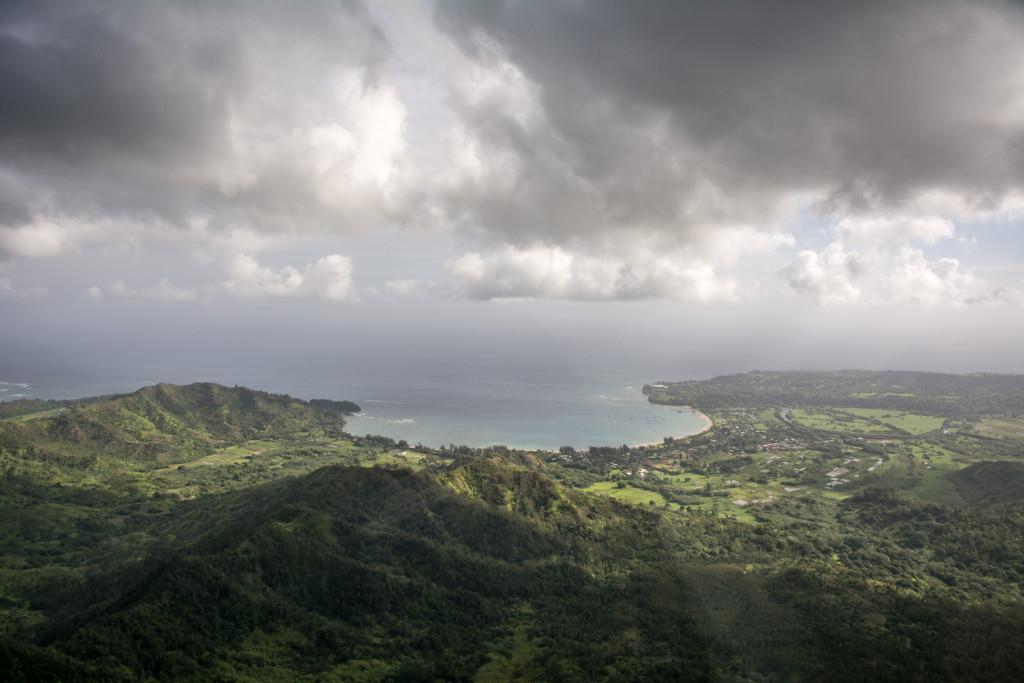 Letecký pohled na Hanalei Bay, ostrov Kauai,