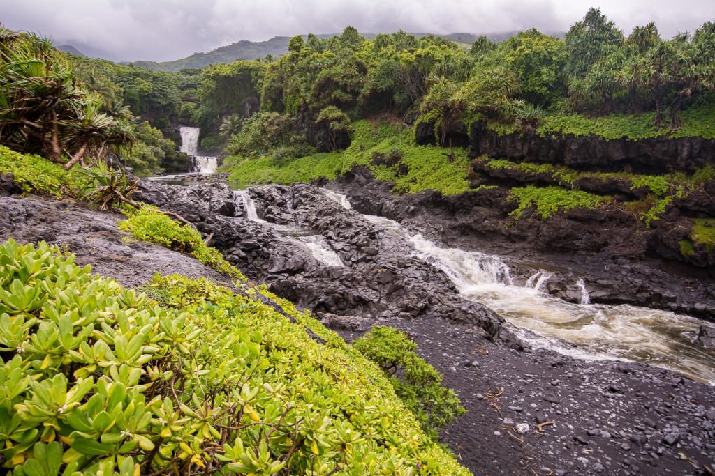 Sacred Pools of Ohoe Gulch - zde se lze při přízni počasí koupat - nám pršelo...