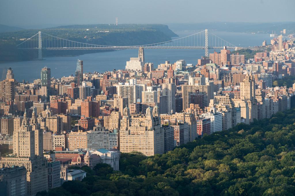 Pohled z Top of the Rock vyhlídky (Rockefellerovo centrum) směrem k central praku