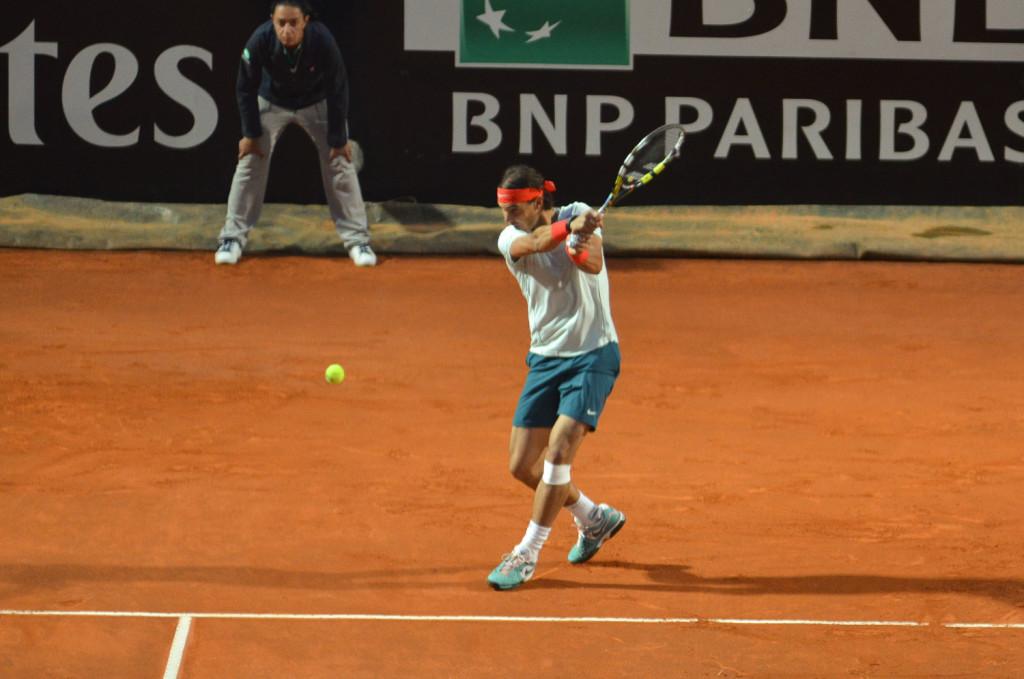 Rafael Nadal v akci na turnaji Msters1000 v Říme
