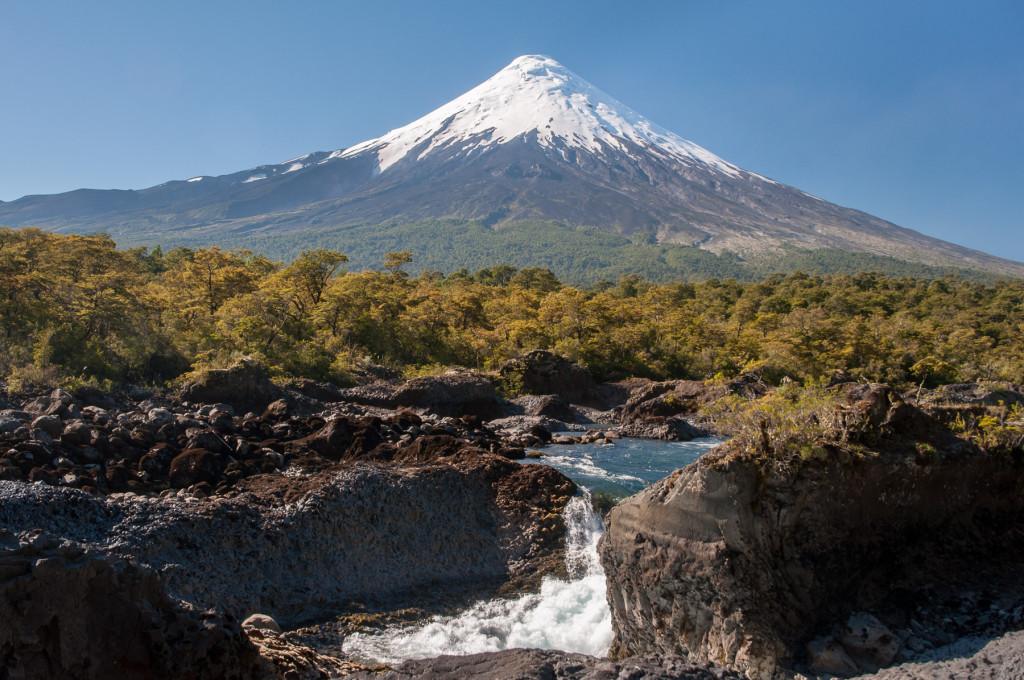 Vulkán Osorno na chilské straně severní Patagonie