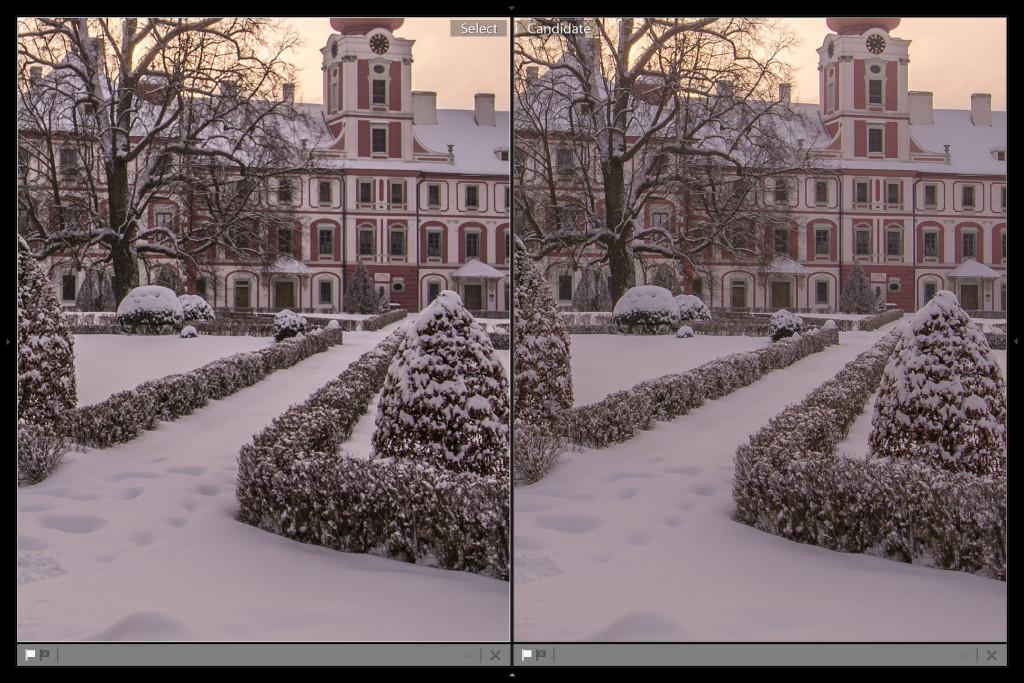 Porovnání z větší blízkosti - vlevo clarity v plusu, vpravo clarity v mísu + doostřeno