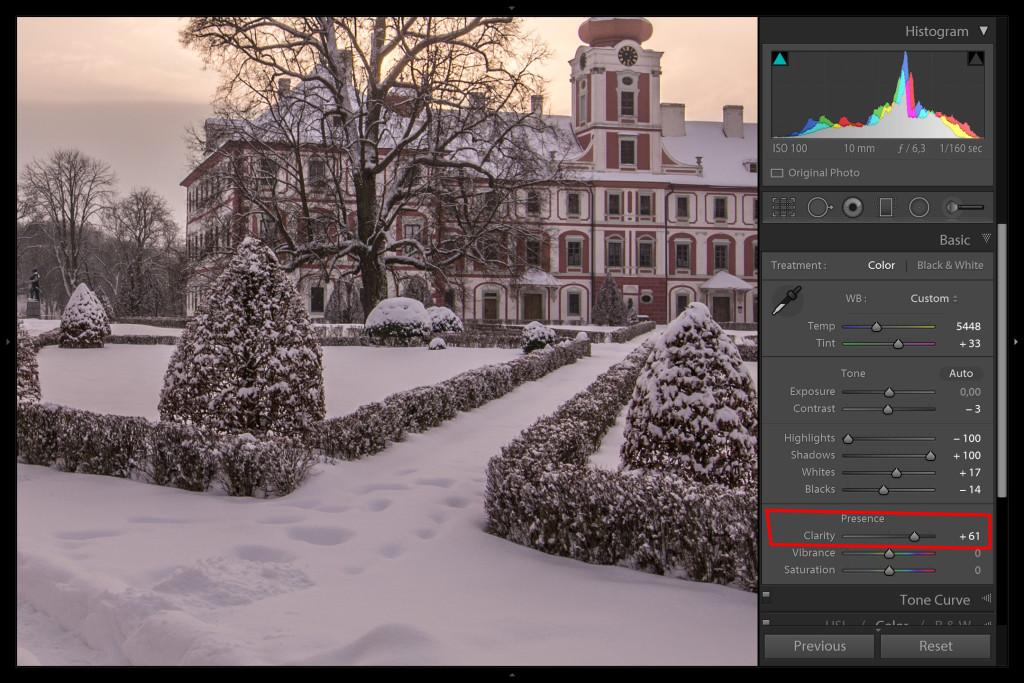 Pro porovnání - takto by vypadal snímek s clarity (zřetelnost) do plusu...rozdíl je nepatrný, ale snímek má jinou atmosféru