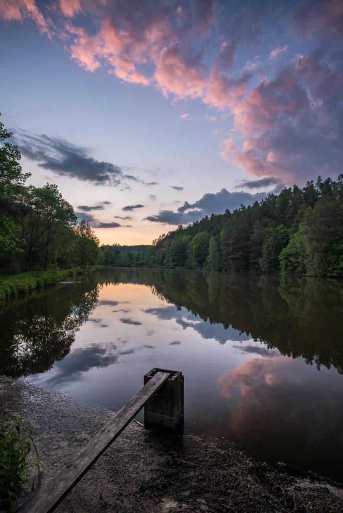 Jevany, rybník, západ slunce
