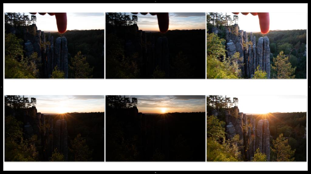 Série dvou HDR řad - s prstem a bez prstu, v Lightroomu spojuji jen prostřední a pravé snímky, snímky vlevo vynechávám